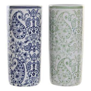 2 Suportes para guarda-chuvas DKD Home Decor Azul Verde Porcelana (19.5 x 19.5 x 44 cm)