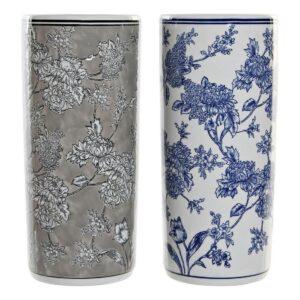 2 Suportes para guarda-chuvas DKD Home Decor Azul Cinzento Porcelana (2 pcs) (19.5 x 19.5 x 44 cm)