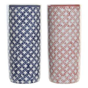 2 Suportes para guarda-chuvas DKD Home Decor Azul Vermelho Porcelana (2 pcs) (19.5 x 19.5 x 44 cm)