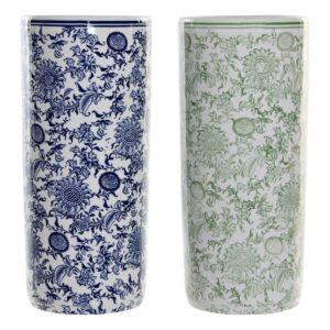 2 Suportes para guarda-chuvas DKD Home Decor Azul Verde Porcelana (2 pcs) (19.5 x 19.5 x 44 cm)