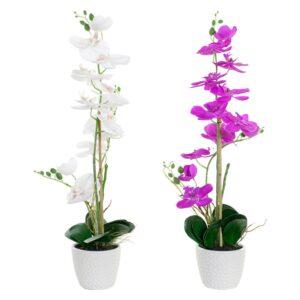 Planta Decorativa DKD Home Decor Branco Verde Tecido Porcelana Fúcsia (2 pcs) (18 x 18 x 60 cm)