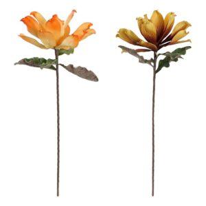 Flores Decorativas DKD Home Decor Amarelo Laranja EVA (Acetato Vinílico Etileno) (2 pcs)