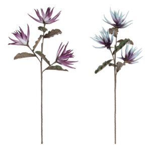 Flores Decorativas DKD Home Decor Azul EVA (Acetato Vinílico Etileno) Lilás (2 pcs)