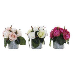 3 Plantas Decorativa DKD Home Decor Branco Cor de Rosa Plástico Tecido Fúcsia