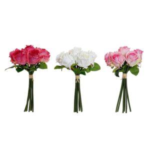 3 Ramalhetes DKD Home Decor Branco Cor de Rosa Plástico Tecido Fúcsia