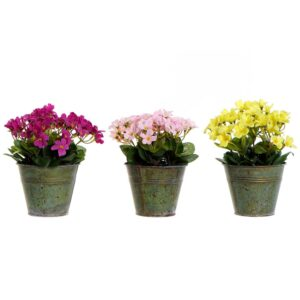 3 Planta Decorativa DKD Home Decor Amarelo Cor de Rosa Metal Polietileno Fúcsia
