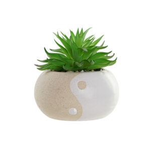 Planta Decorativa DKD Home Decor Verde Bege PVC Porcelana (12 x 12 x 14 cm)