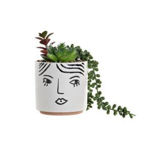 Planta Decorativa DKD Home Decor Branco Verde PVC Dolomite (22 x 12 x 20 cm)