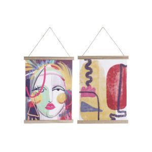 2 Pinturas DKD Home Decor Abstrato Madeira MDF  (38 x 1.5 x 51 cm)