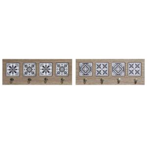 2 Bengaleiros DKD Home Decor Azul Metal Mosaico Madeira MDF (48 x 1.2 x 17.5 cm)