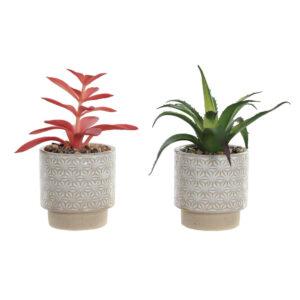 Planta Decorativa DKD Home Decor Branco Verde Cor de Rosa Cerâmica Polietileno (2 pcs) (8 x 8 x 18 cm)