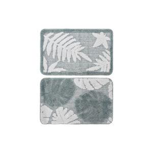 2 Tapetes DKD Home Decor Branco Verde Poliéster Folhas (70 x 70 x 45 cm)