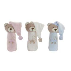 3 Ursos de Peluche DKD Home Decor Bege Poliéster Celeste Rosa Claro  (8 x 9 x 13 cm)