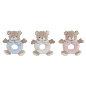 3 Ursos de Peluche DKD Home Decor Bege Poliéster Celeste Rosa Claro (15 x 5 x 15 cm)