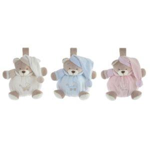 3 Ursos de Peluche DKD Home Decor Bege Poliéster Celeste Rosa Claro (19 x 12 x 20 cm)