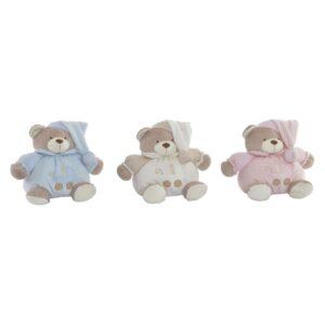 3 Ursos de Peluche DKD Home Decor Bege Poliéster Celeste Rosa Claro  (26 x 20 x 20 cm)