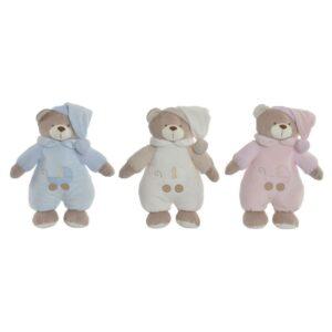 3 Ursos de Peluche DKD Home Decor Bege Poliéster Celeste Rosa Claro  (24 x 12 x 30 cm)