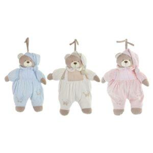 3 Ursos de Peluche DKD Home Decor Bege Poliéster Celeste Rosa Claro (35 x 10 x 44 cm)