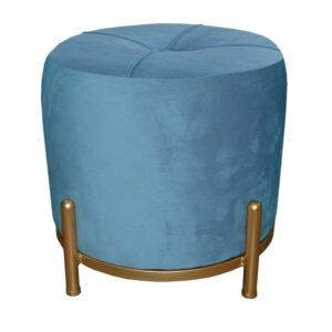 Repousa pés DKD Home Decor Azul Poliéster Metal Dourado (38 x 38 x 34 cm)