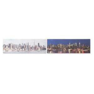 2 Pinturas DKD Home Decor Pinheiro Tela New York (135 x 2.5 x 45 cm)