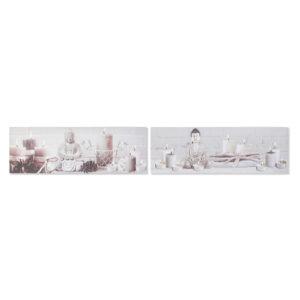 2 Pinturas DKD Home Decor Pinheiro Tela Buda  (135 x 2.5 x 45 cm)