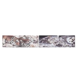 2 Pinturas DKD Home Decor Pinheiro Tigre Tela  (135 x 2.5 x 45 cm)