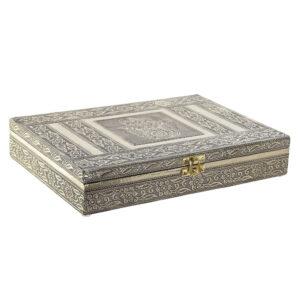 Guarda-Joias DKD Home Decor Madeira Alumínio Árabe (1 pcs) (27.5 x 20 x 5.4 cm)