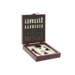 Conjunto de 5 Acessórios para Vinho DKD Home Decor Aço inoxidável Madeira MDF Xadrez (15 x 17 x 4.5 cm)