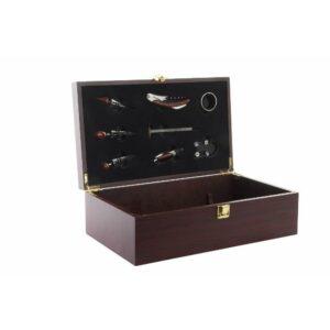 Conjunto de 8 Acessórios para Vinho DKD Home Decor Aço inoxidável Catanho escuro (46 x 20 x 5 cm)