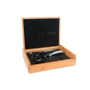 Conjunto de 7 Acessórios para Vinho DKD Home Decor Bambu Aço inoxidável Marrom claro (29 x 22 x 7 cm)