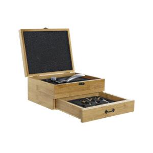 Conjunto de 8 Acessórios para Vinho DKD Home Decor Bambu Aço inoxidável Marrom claro (26 x 22 x 13 cm)