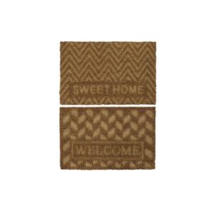 2 Tapetes DKD Home Decor Castanho PVC Fibra Geométrico  (60 x 40 x 1.5 cm)