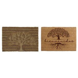 2 Tapetes DKD Home Decor Castanho PVC Fibra Árvore (60 x 40 x 1.5 cm)