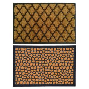 2 Tapetes DKD Home Decor Castanho Preto PVC Fibra (60 x 40 x 1.5 cm)