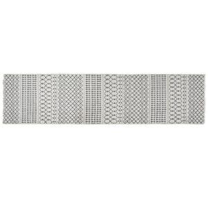 Tapete DKD Home Decor Branco Poliéster Algodão Cinzento Escuro (60 x 240 x 1 cm)