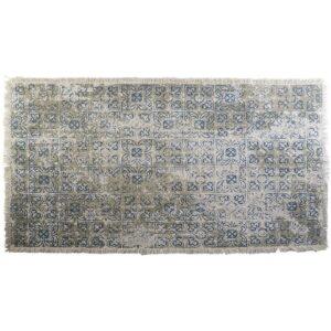 Tapete DKD Home Decor Azul Bege Algodão Azulejo (120 x 180 x 1 cm)