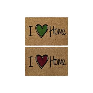 2 Tapetes DKD Home Decor I Love Home Castanho Vermelho Verde PVC Coco (60 x 40 x 1.5 cm)