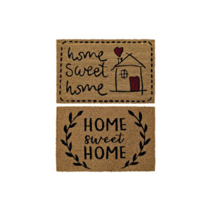 2 Tapetes DKD Home Decor Home Sweet Home Castanho Preto PVC Coco(60 x 40 x 1.5 cm)