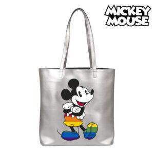 Bolsa Disney Pride Mickey Mouse Arco-íris Prateado (38 x 32 x 13 cm)