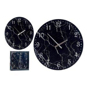 Relógio de Parede Preto Cristal (30 x 4 x 30 cm)