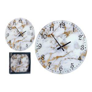 Relógio de Parede Branco Dourado Cristal (30 x 4 x 30 cm)
