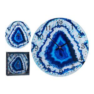 Relógio de Parede Azul Cristal (30 x 4 x 30 cm)