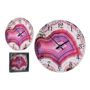 Relógio de Parede Cor de Rosa Cristal (30 x 4 x 30 cm)