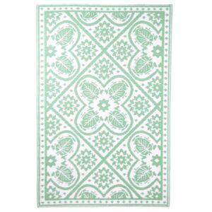 Esschert Design Tapete de exterior 182x122 cm azulejos verde e branco - PORTES GRÁTIS