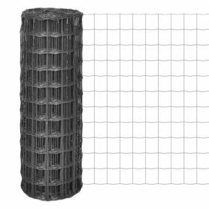 Cerca 10x1,7 m aço cinzento - PORTES GRÁTIS