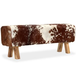 Banco em couro de cabra genuíno 120x30x45 cm - PORTES GRÁTIS