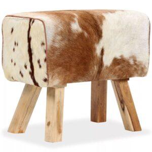 Banco em couro de cabra genuíno 60x30x50 cm - PORTES GRÁTIS