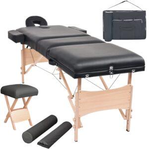 Conj. mesa massagem dobrável 3 zonas + banco 10cm espess. preta - PORTES GRÁTIS
