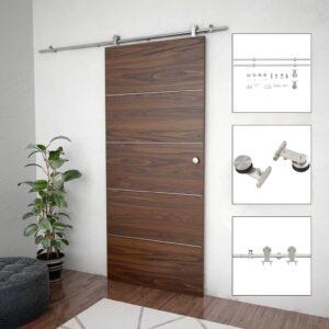 Kit ferragens p/ porta deslizante 183cm aço inoxidável prateado - PORTES GRÁTIS