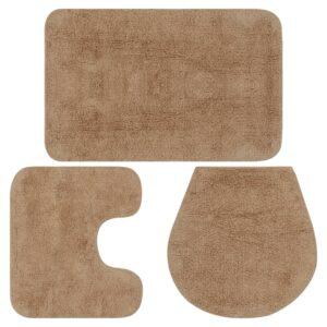 Conjunto tapetes de casa de banho 3 pcs tecido bege - PORTES GRÁTIS